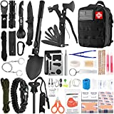 Survival First Aid Kit 142 in 1, Professional Survival Gear and Equipment with Molle Pouch, Gift for Men Dad Him Camping Hunting Fishing Outdoor Adventure (Black)