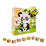 EKKONG Puzzle en Bois pour Enfants,Jouet Puzzle en Bois pour Enfants,Jouets Montessori Enfant 1 2 3 4 Ans,Jouet Educatif Préscolaire, Puzzle en Bois Cube Bloc de
