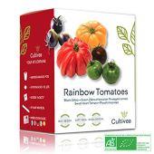 Cultivea Mini - Kit Prêt à Pousser Tomates colorées - Graines 100% Bio - Jardinez et dégustez - Idée cadeau (Black & Green Zebra, Hawaiian Pineaple,Coeur de boeuf, Physalis Ixocarpa) (Tomates)