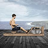 Mr. Rudolf Water Rowing Machines for Home Use,Oak Wood Rower with Bluetooth Monitor - Indoor FitnessExercise Equipment(Included an Electric Pump and A Dust Cover)