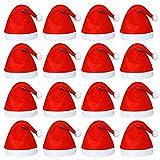 Elcoho Paquet de 20 bonnets rouges pour père Noël, peluche courte avec...