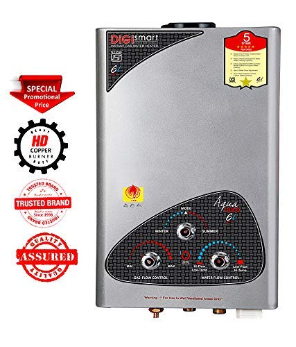 DIGISMART Instant Aqua Gold LPG Gas Water Heater with 100% Copper Tank, Anti Rust Coating Geyser Saves Your GESYER from Corrosion by Water (Silver Metallic)