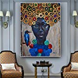 wojinbao Pintura sobre lienzoAbstract African Women Portrait Oil ng on Canvas Art Scandinavian Poster and Prints Modern Wall Picture for Living Room