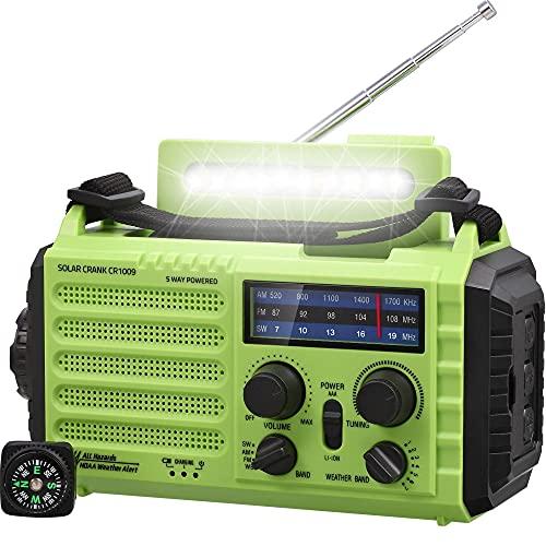 AM/FM/SW Baustellenradio Kurbelradio, Tragbares 5-Wege...