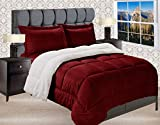 Elegant Comfort Premium Quality Heavy Weight Micromink Sherpa-Backing Reversible Down Alternative Micro-Suede 3-Piece Comforter Set, King, Burgundy