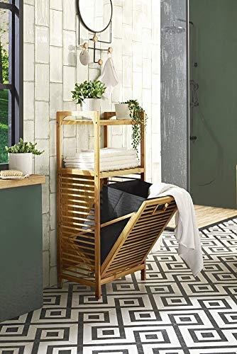 Badregal aus Bambus-Holz mit ausklappbarem Wäschekorb aus Filz, grau