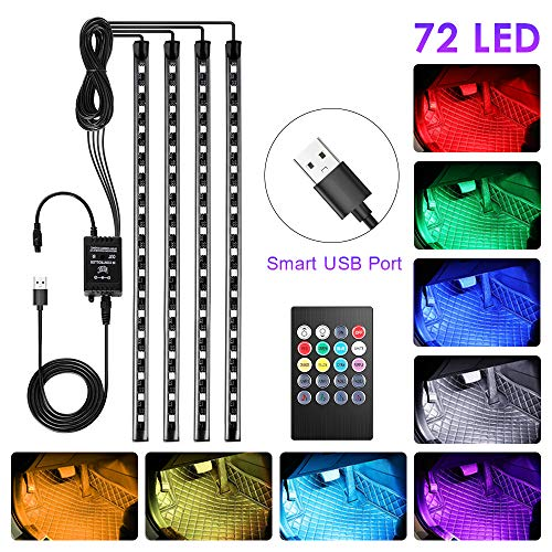 bedee Led Auto Interni Kit,Striscia Led Neon Auto Interni,RGB SMD 72 LED Luci con Telecomando Senza...