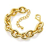 Gold Bracelets for Women - Lane Woods 14k Gold Plated Chunky Thick Large Link Chain Bracelet