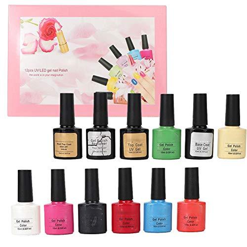 Gel Nail Polish Set 12 Bottles Nail Art UV Gel Nail Polish Quick Coloring Soak Off Gel Polish Manicure Tool Gel Polish Set(Gel Polish)