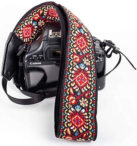 Correa de cámara Vintage roja para cámaras DSLR – Correa Universal Multicolor para réflex – Correa de Hombro y Cuello para Canon, Nikon, Pentax, Sony, Fujifilm y cámara Digital