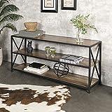 Walker Edison Furniture Company 2 Shelf Industrial Wood Metal Bookcase Bookshelf Storage, 60 Inch, Brown Reclaimed Barnwood