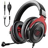 EKSA E900 Gaming Headset für PC mit Kabel, Over-Ear Gaming Kopfhörer mit Noise Cancelling Mikrofon & Stereo Surround Sound für PS4/PS5/Xbox/Switch/Mac/Handy/Tablet - Rot