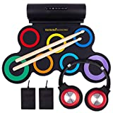 QoQoba Electronic Drum Set for Kids   Adult Beginner Pro MIDI Drum Practice Pad Kit Incl. Foldable Headphone   Drum Sticks   Great Holiday Birthday Gift for Kids Drum Set (RAINBOW)