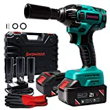 KINSWOOD 21V 2 Batteries rechargeable Lithium-ion Cordless Impact Wrench with Drill Set Led Light Fee Case & Work Glove (2 Battery)