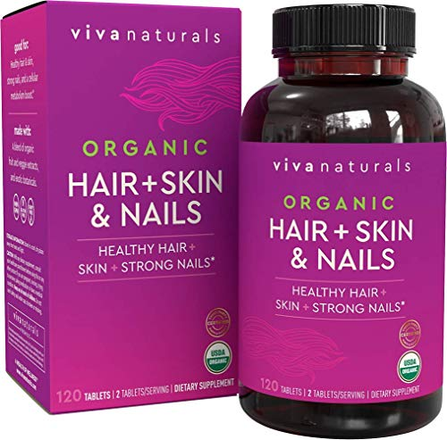 Organic Hair Skin and Nails Vitamins for Women with Biotin, Hair Vitamins and Skin Vitamins That Promotes Healthy Hair and Nail Growth, 120 Tablets