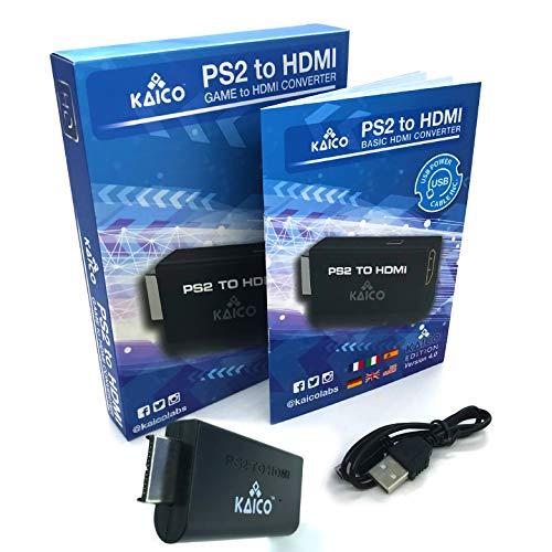 Kaico - Playstation 2 PS2 HDMI-Konverter - PS2 zu HDMI - Komponente zu HDMI-Konverter-Adapter - Playstation 2 auf Ihrem HDMI-Fernseher - Retro Gaming PS2 HDMI-Konverter-Adapter - HDMI - PS2
