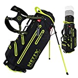 Helix Golf Stand Bag Retractable, 6 Way Dividers with Backstrap Shoulder Carry Golf Bag, Golf Bag Stand with Wheel for Traveling (Black)
