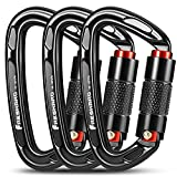 3pcs Climbing Carabiners-Auto Double Locking Carabiner Clips, Caribeener Twist Lock and Heavy Duty, for Rock Climbing ,Rappelling, Arborist, Firefighter, Dog Leash, D UIAA Certified 4 Inch, 25kN Black
