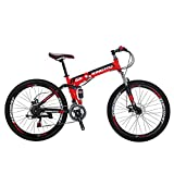 Eurobike Mountain Bike G6 26' 21 Speed Folding Bike (Red)