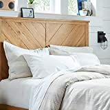 Stone & Beam Washed Linen Stripe Duvet Cover Set, Full / Queen, White with Blue Stripe