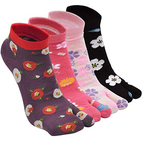 ZFSOCK Tabi Giapponesi Calzini con Alluce Separato, Cotone Calze Flip Flop Infradito Geta, Calze con 2 Dita Calzini alla caviglia con motivo Sakura taglia 35-41, 4 paia