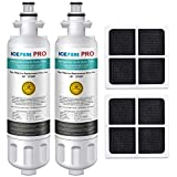 ICEPURE PRO NSF 53&42 Certified LT700P Refrigerator Water Filter and Air Filter, Compatible with LG LT700P, KENMORE 9690, 46-9690, ADQ36006101, ADQ36006102, LFXC24726S, and LT120F, RWF1200A, 2 Combo