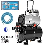 VIVOHOME 110-120V Professional Airbrushing Paint System with 1/5 HP Air Compressor and 1 Airbrush Kit for Tattoo Makeup Shoes Cake Decoration