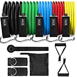 Taotique True Latex Resistance Bands, 150 LBS Portable Home Workout Exercise Bands with Handles, Door Anchor, Ankle Straps, Fitness Band for Men & Women, Physical Therapy, Shape Body, Musle Training