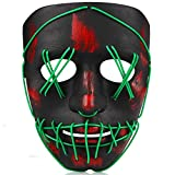 TGHCP-Halloween Light Up Glowing Mask Led Scary Mask Illuminated EL Wire Mask for Halloween Festival Party (Green)