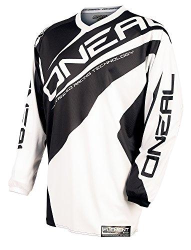 O\'Neal Element Jersey RACEWEAR Trikot Schwarz Weiß Motocross Mountainbike Enduro MTB MX DH FR, 0024R-1, Größe Large