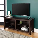 WE Furniture Minimal Farmhouse Wood Universal Stand for TV's up to 64' Flat Screen Living Room Storage Shelves Entertainment Center, 58 Inch, Espresso