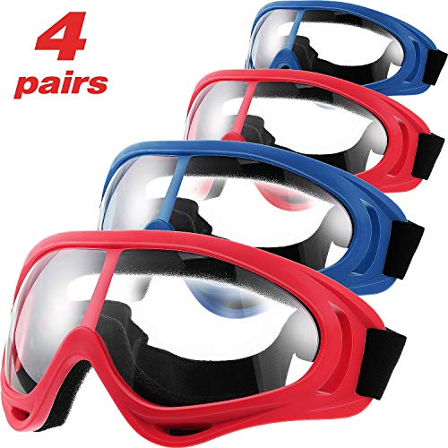4 Pairs Protective Goggles Safety Glasses Eyewear for Teens Game Battle Hiking and Sand Prevention (Blue, Red)