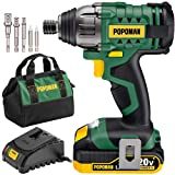 POPOMAN Impact Driver, Cordless Impact Driver Kit with1600In-lbs, 0-2900RPM Variable Speed, 20V Impact Drill Power Tool with Fast Charger, 2.0Ah Battery,1/4' All-Metal Hex Chuck, 6 Pcs Accessories
