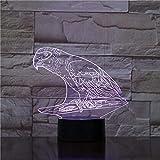 Parrot 3D light animal bird 3D night light lámpara de mesa decorativa con luz 7LED como regalo creativo para amigos
