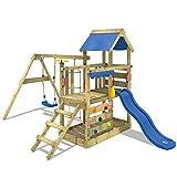 WICKEY Parco giochi in legno TurboFlyer Giochi da giardino con altalena e scivolo blu, Torre d'arrampicata da esterno con sabbiera e scala di risalita per bambini