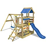 WICKEY Aire de jeux Portique bois TurboFlyer avec balançoire et toboggan bleu...