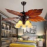 52 Inch Tropical Ceiling Fan Light Wooden Palm Leaf Blades Fan Light, Indoor Quiet Ceiling Fan Chandelier, Home Remote Rustic Ceiling Fan, Bronze