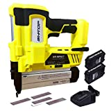 BHTOP Cordless Brad Nailer, 18Ga Heavy Finish Nail Gun With 18Volt 2Ah Lithium-ion Rechargeable Battery in Yellow(Charger and Carrying Case) (2Batteries)