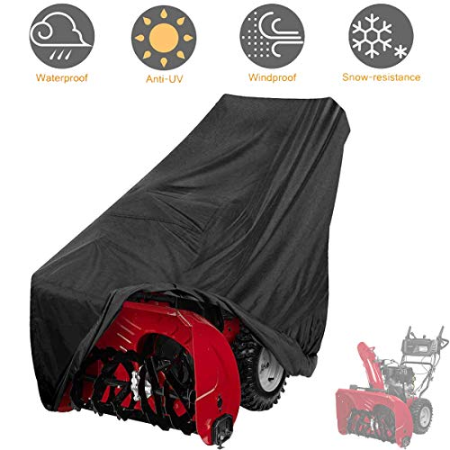 Tvird Snow Thrower Cover, Two Stage Snow Blower Cover, Large Size 60' L x 33' H x 45' W for Most Electric Snow Blowers,Waterproof Dustproof,Includes Locks Drawstring,Buckles,and Carry Bag