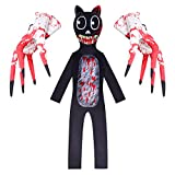 Boys Cartoon Scary Cat Costume Child Horror Monster Character Costumes Scary Halloween Cosplay Jumpsuit