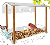 Bird Feeder, Strong Large Size with Suction Cups & Seed Tray, Separate Drinking-Water Sink & Wood...