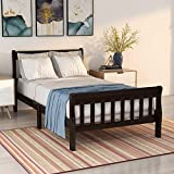 Merax Wood Platform Bed Twin Bed Frame Bed Mattress Foundation Sleigh Bed with Headboard and Footboard and Wood Slat Support (Espresso)