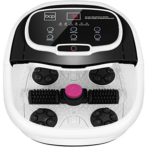 Best Choice Products Motorized Foot Spa Bath Massager, Adjustable Waterfall Shower & Fast Heating, Automatic Shiatsu Massage, Pumice Stone, Rollers, Pedicure to Relieve Feet Muscle Pain - Black