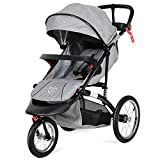 BABY JOY Jogger Stroller, Lightweight Jogging Stroller, Folding Pushchair w/Parental Cup Phone Holder, Adjustable Handle Bar, Rubber Wheels, Shock Suspension, Free Tractive Webbing, Gray