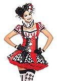Leg Avenue Women's 3PC.Harlequin Clown, black/Red, Large