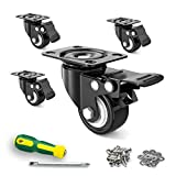 "2"" Caster Wheels,Set of 4,Heavy Duty Swivel Casters with Brake, Safety Dual Locking and No Noise..."