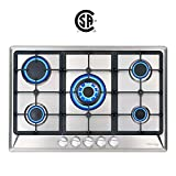 30' Gas Cooktop, GASLAND Chef GH77SF 5 Italy Sabaf Burners Built-in Gas Hob, 30 Inch Stainless Steel Propane Natural Gas Stovetop, LPG/NG Convertible Gas Range, Gas Cooker with Thermocouple Protection