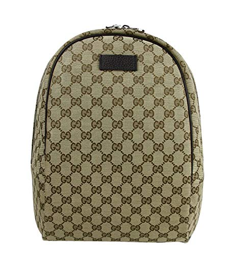 51drpW5vSuL Gucci Original GG Canvas Beige Canvas Brown Leather Trim GG Guccissima Pattern Backpack Top Handle, Zip Close, Gucci Leather Tab, and Adjustable Padded Shoulder Straps.
