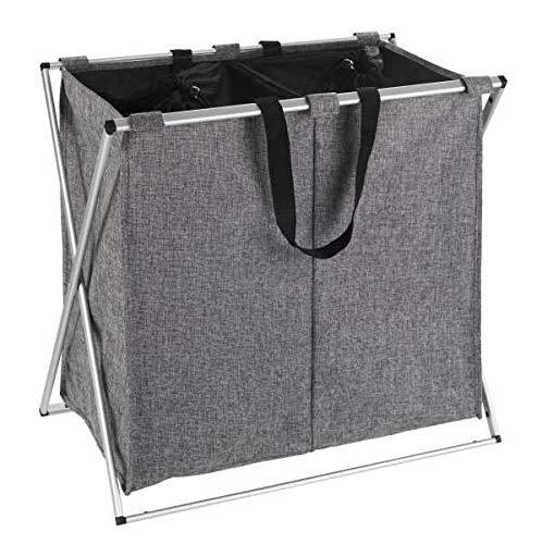 WENKO Wäschesammler Duo Grau Meliert, stabiler Wäschekorb mit Deckel und praktischen Tragegriffen, viel Stauraum mit 120 l und zwei Fächern, (B x H x T): 59 x 57 x 38 cm, abnehmbarer Wäschesack