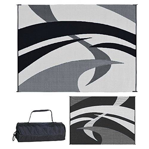 Reversible Mats Outdoor Patio / RV Camping Mat - Swirl...